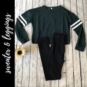 Sweater & fleece lined leggings outfit!